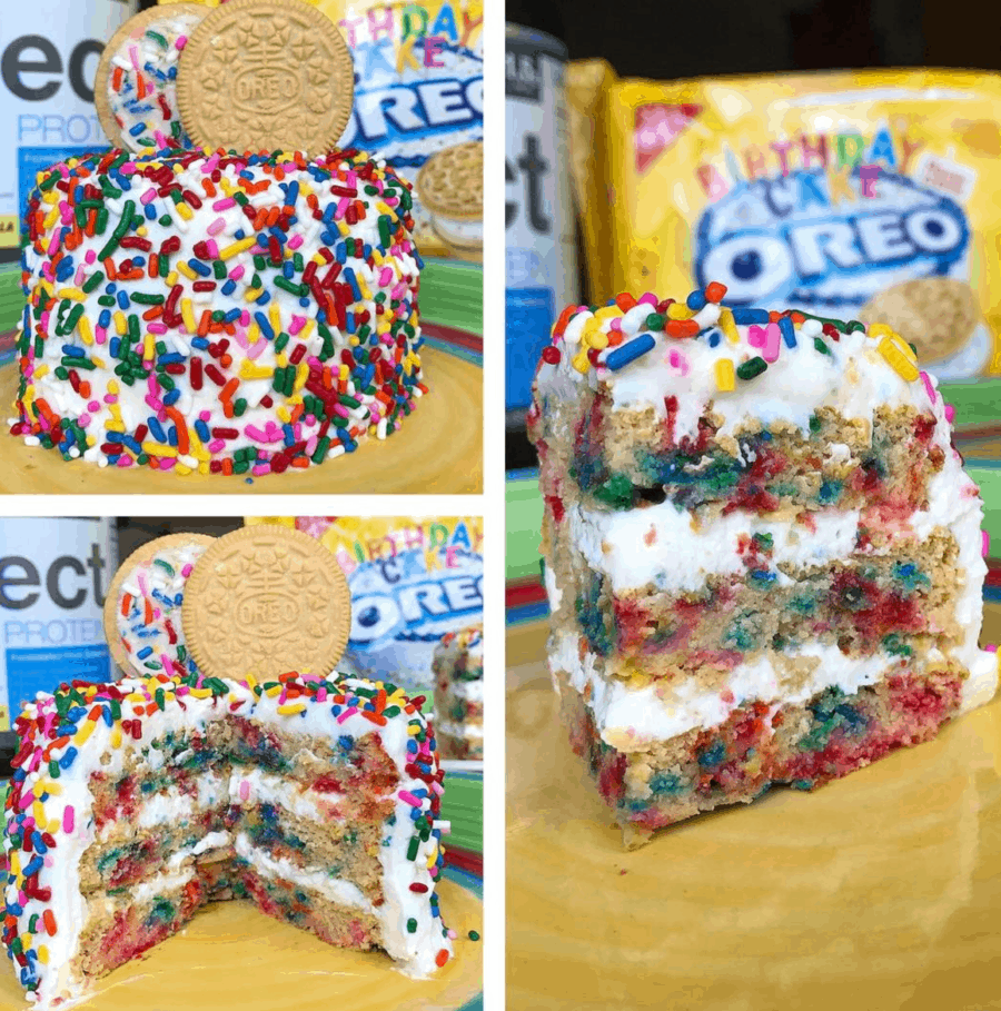 Triple Layer Birthday Cake Oreo Protein Cookie 395 Cals