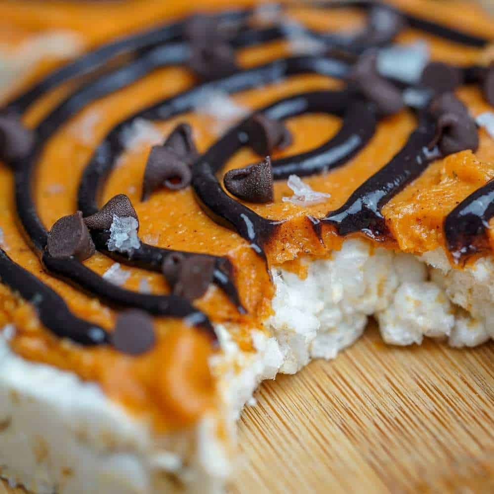 Protein Brownie Pumpkin Swirl Pimped Out Rice Cakes